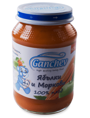 Ганчев  Бебешко пюре от ябълки и моркови 100% плод  4 месеца
